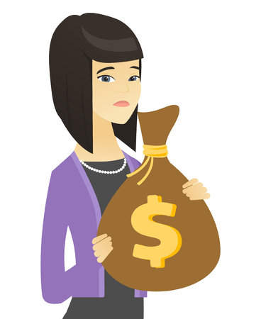 Asian business woman holding a money bag.