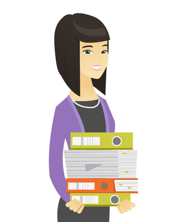 Asian business woman holding pile of folders.