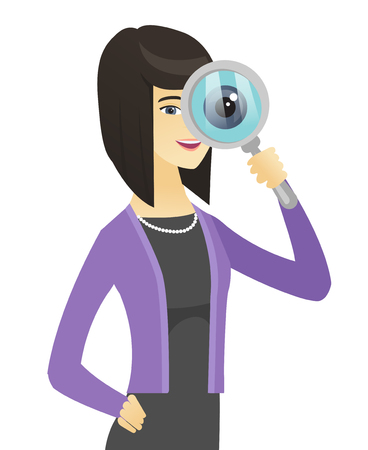 Asian business woman with magnifying glass.