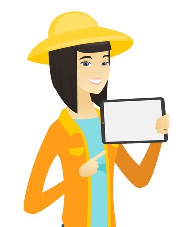agrarian: Young asian farmer holding tablet computer. Illustration