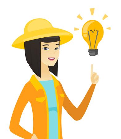 Young asian farmer pointing at idea light bulb. Illustration