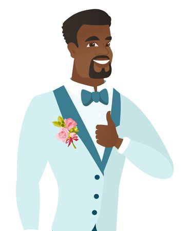 African-american smiling groom in a wedding suit giving thumb up. Young cheerful groom showing thumb up. Vector flat design illustration isolated on white background.