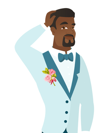 Young african-american groom scratching his head.