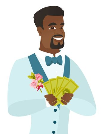 Happy african-american groom holding money in hands. Young excited groom in a wedding suit showing money. Vector flat design illustration isolated on white background.