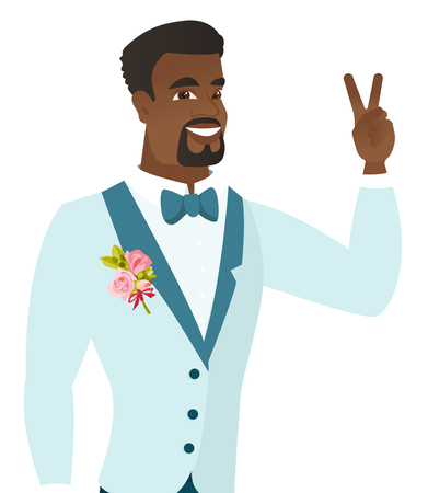 African-american groom in a wedding suit showing the victory gesture. Young cheerful groom showing the victory sign with two fingers. Vector flat design illustration isolated on white background. Иллюстрация