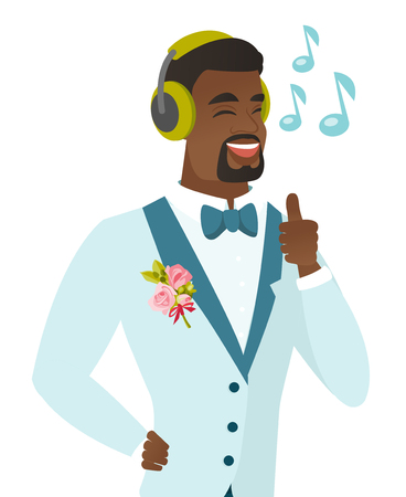 African-american groom listening to music in headphones. Young groom with closed eyes listening to music in headphones and singing. Vector flat design illustration isolated on white background.