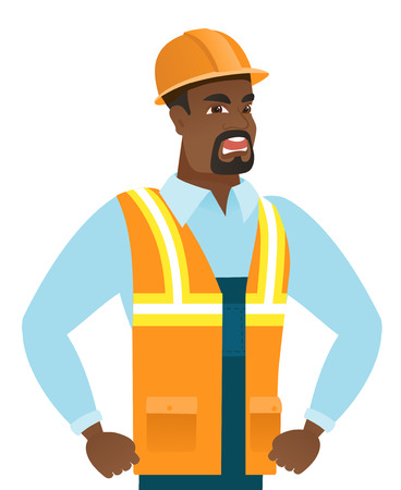 Young african angry builder screaming. Angry builder clenching fists. Angry builder in hard hat shouting with raised fists. Vector flat design illustration isolated on white background.
