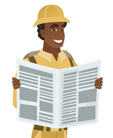 adventurer: African-american traveler reading newspaper. Young traveler standing with newspaper in hands. Traveler reading good news in newspaper. Vector flat design illustration isolated on white background.