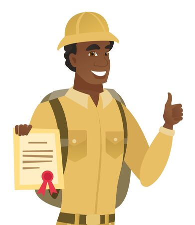 African-american cheerful traveler holding a certificate. Young happy traveler showing certificate and giving thumb up. Vector flat design illustration isolated on white background.