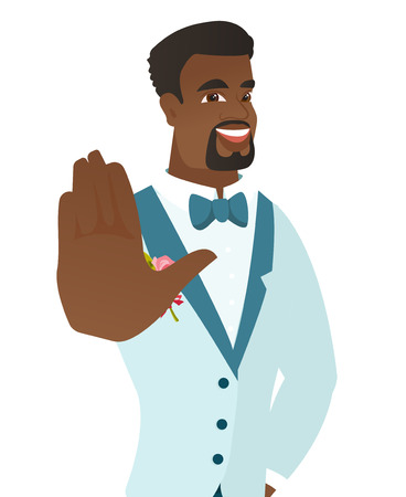 fiance: African-american groom in a wedding suit showing palm hand. Young groom making stop gesture by his palm. Vector flat design illustration isolated on white background.