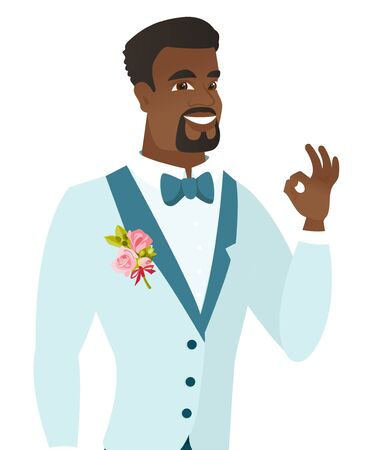 African-american smiling groom showing an ok sign. Young cheerful groom in a wedding suit making an ok sign. Groom gesturing an ok sign. Vector flat design illustration isolated on white background.