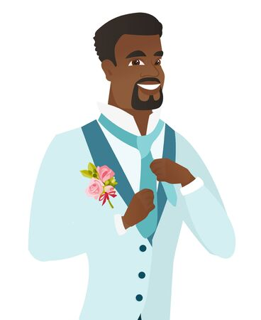 preparations: Cheerful african-american groom has a final preparation before the wedding. Younghappy groom adjusting necktie. Vector flat design illustration isolated on white background.