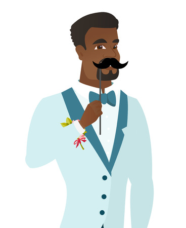 Young african-american groom holding a fake paper moustache on a stick in front of his face. Cheerful groom with a fake mustache. Vector flat design illustration isolated on white background.