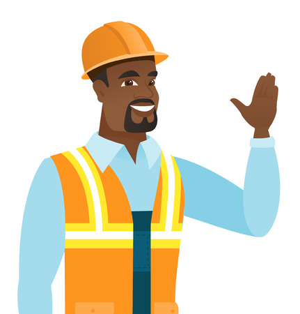 hi five: African-american builder in hard hat waving his hand. Young smiling builder making greeting gesture - waving hand. Vector flat design illustration isolated on white background.