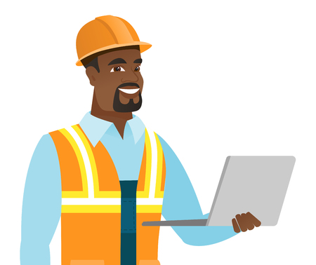 African-american builder using a laptop. Young smiling builder in hard hat working on a laptop. Cheerful builder holding a laptop. Vector flat design illustration isolated on white background.