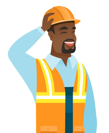 touching: Young african-american builder in workwear laughing with hand on his hard hat. Builder in workwear laughing and touching his hat. Vector flat design illustration isolated on white background.