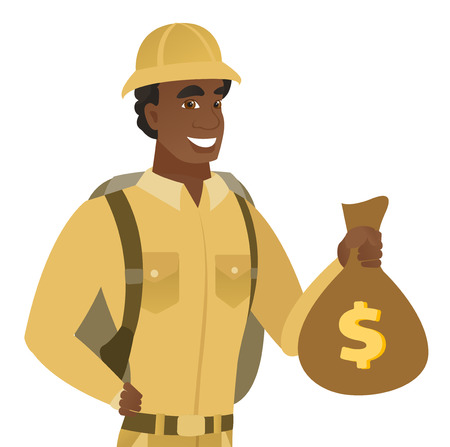 African-american traveler showing money bag with dollar sign. Young happy smiling traveler holding money bag. Vector flat design illustration isolated on white background. Illustration