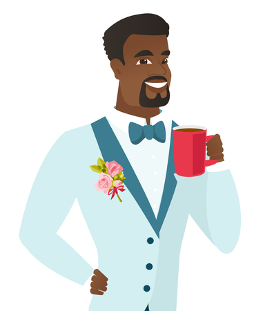 African-american smiling groom holding a cup of coffee. Young groom in a wedding suit drinking coffee. Happy groom with a cup of coffee. Vector flat design illustration isolated on white background.