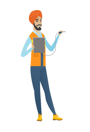 Young hindu electrician in headscarf measuring the voltage output. Electrician holding equipment for measuring of voltage and current. Vector flat design illustration isolated on white background. Illustration