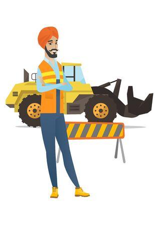 ヒンドゥー教の自信ビルダー ショベル、道路障壁の背景の上に立って。腕を組んで立っている自信ビルダー。ベクトル フラットなデザイン イラス