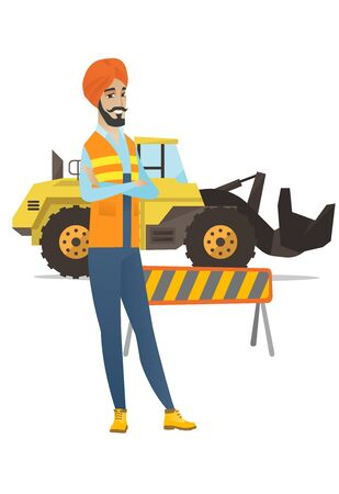 Hindu confident builder standing on the background of excavator and road barrier. Confident builder standing with arms crossed. Vector flat design illustration isolated on white background.