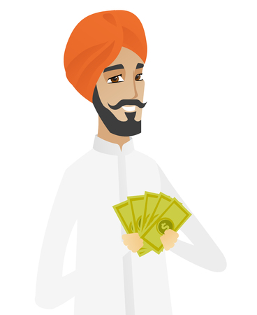 businessperson: Hindu businessman holding money. Excited businessman standing with money in hands. Full length of businessman with money. Vector flat design illustration isolated on white background.