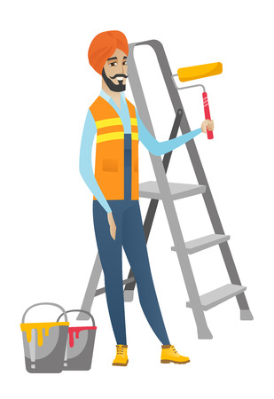 redecorate: Hindu house painter in uniform holding paint roller in hands. Young smiling house painter standing near step-ladder and paint cans. Vector flat design illustration isolated on white background.