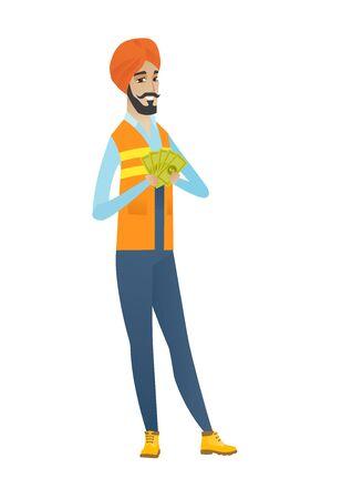Happy hindu builder holding money.