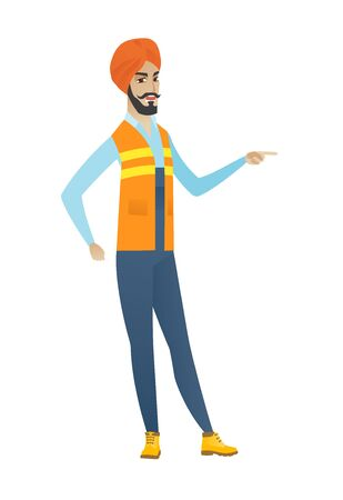 Young aggressive builder screaming and shaking his finger. Hindu furious builder screaming and pointing his finger to the right side. Vector flat design illustration isolated on white background.