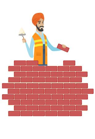 制服でスカーフ ヒンドゥー教の職人。Bicklayer へらとレンガで建設現場で作業します。建物のレンガの壁の煉瓦工。ベクトル フラットなデザイン イ  イラスト・ベクター素材