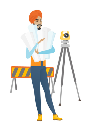 geodesy: Hindu engineer standing with blueprint at construction site. Engineer holding blueprint on the background of road barrier and theodolite. Vector flat design illustration isolated on white background.