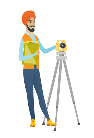 Hindu surveyor builder holding clippboard and working with theodolite. Young surveyor builder standing near theodolite transit equipment. Vector flat design illustration isolated on white background.