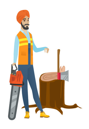 Young hindu lumberjack holding chainsaw. Lumberjack in workwear and headscarf standing near stump with axe. Lumberjack chopping wood. Vector flat design illustration isolated on white background. Illustration