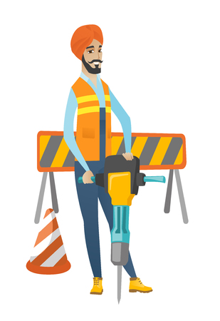 Hindu builder worker working with pneumatic hammer drill equipment at construction site. Young builder using pneumatic hammer. Vector flat design illustration isolated on white background.