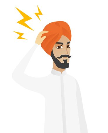 thoughtful: Hindu pensive businessman with lightning over his head. Young thoughtful businessman standing under the lightning. Vector flat design illustration isolated on white background.