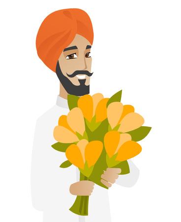 businessperson: Hindu businessman holding bouquet of flowers. Young businessman with bouquet of flowers. Happy smiling businessman with flowers. Vector flat design illustration isolated on white background.