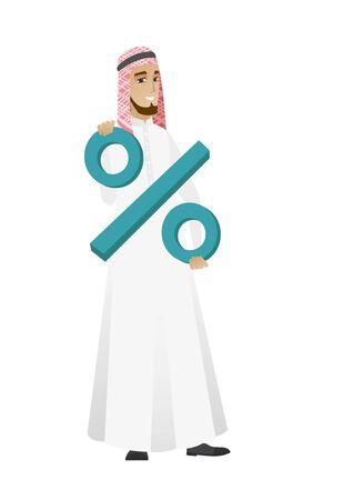 businessperson: Smiling businessman holding percent sign. Illustration