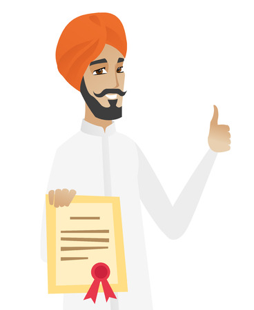 businessperson: Young hindu businessman holding a certificate. Illustration