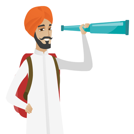 Young hindu traveler with spyglass. Illustration