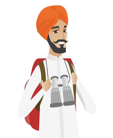 Hindu traveler man with backpack and binoculars.