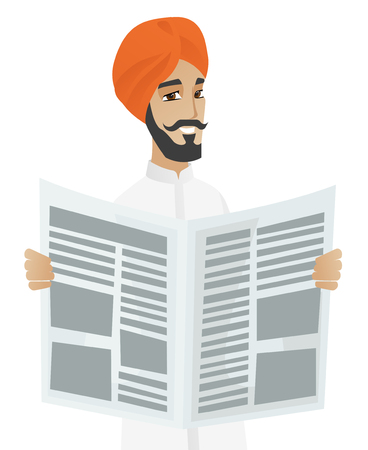 reader: Young hindu happy businessman standing with a newspaper in hands. Cheerful smiling businessman reading good news in a newspaper. Vector flat design illustration isolated on white background.