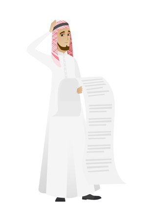 Muslim accountant holding a long bill.