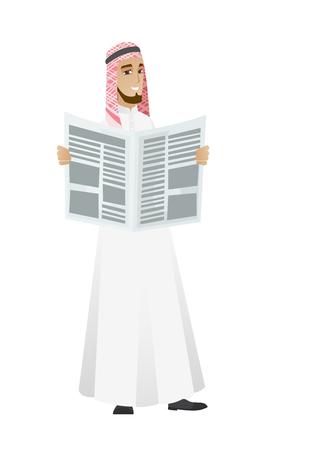 Muslim businessman reading newspaper. Illustration