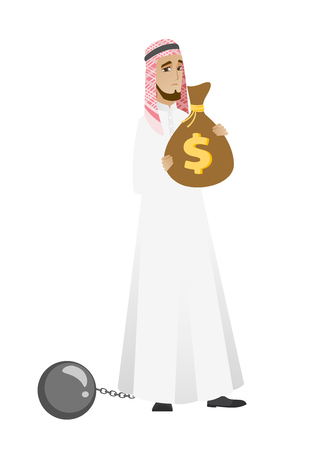 Chained muslim businessman with bag full of taxes.