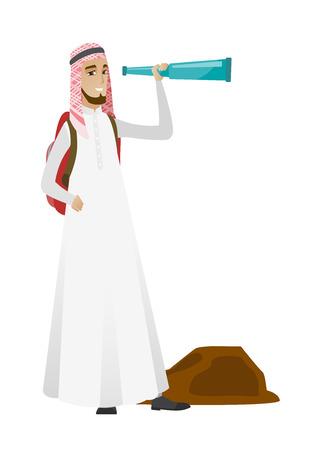 adventurer: Young muslim traveler with spyglass.