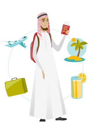 Muslim man traveler holding passport with ticket.
