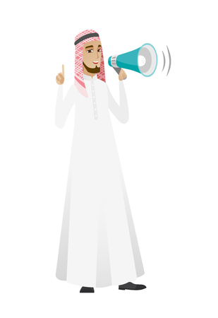 Muslim businessman talking into loudspeaker. Illustration