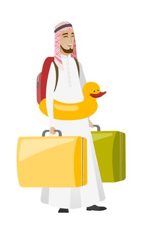 adventurer: Young muslim traveler man in inflatable ring. Illustration