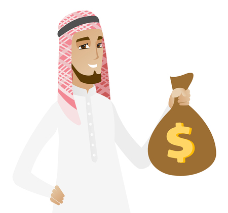 Muslim businessman showing a money bag with a dollar sign. Young happy businessman holding a money bag. Vector flat design illustration isolated on white background. Illustration
