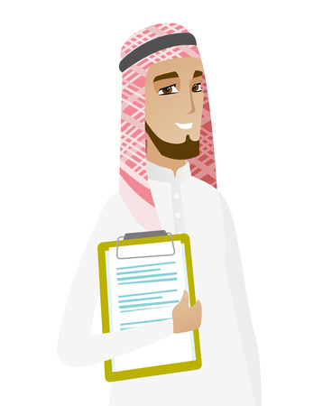 businessperson: Muslim businessman holding a clipboard with documents. Young smiling businessman in a headscarf holding documents. Vector flat design illustration isolated on white background.